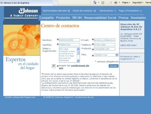 Formulario de contacto de la web de  S.C. Johnson & Son