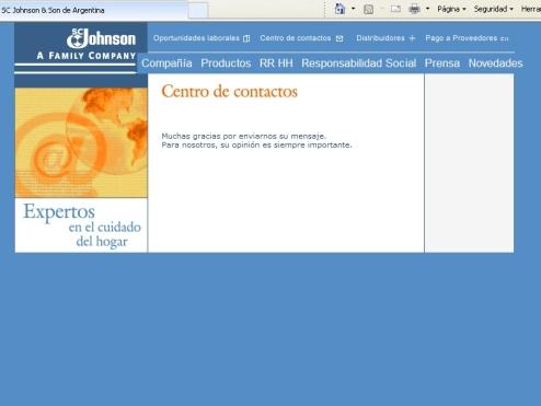 Confirmación de envío a través de la web de  S.C. Johnson & Son