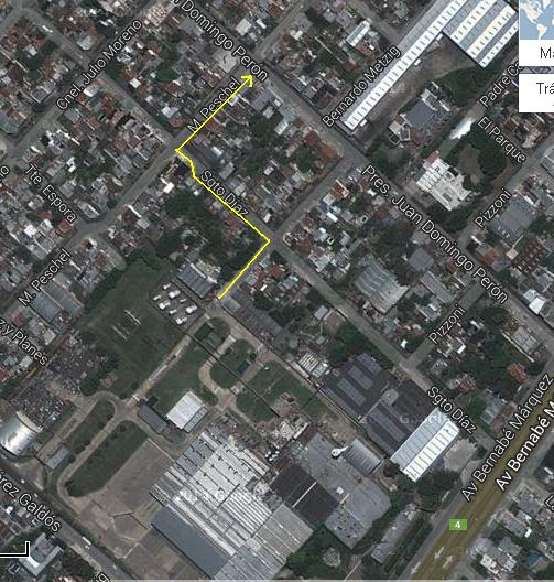 Planta Podestá de SC JOHNSON: indicación de recorrido de vertidos industriales a cielo abierto durante la madrugada del 08 abril 2014.