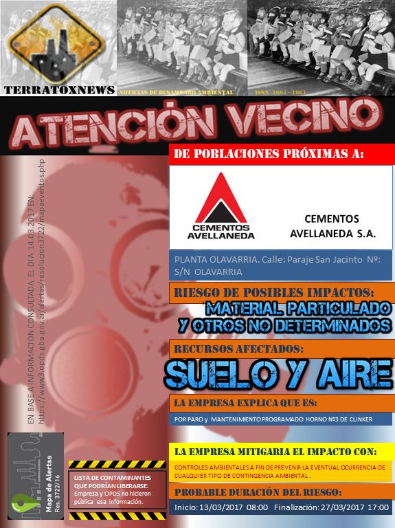 CEMENTOS AVELANEDA S.A. OLAVARRÍA 14.03.2017