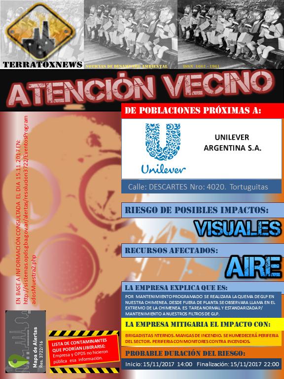 UNILEVER ARG. SA Tortuguitas mapaalertas Anexo I. 15.11.2017