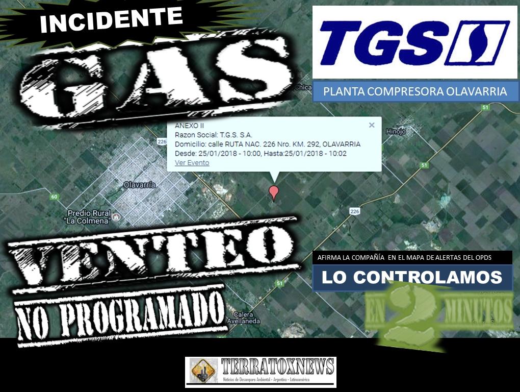 TGS SA venteo no programado 25.01.2018